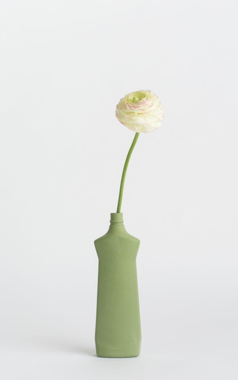 bottle vase #1 dark green with flower