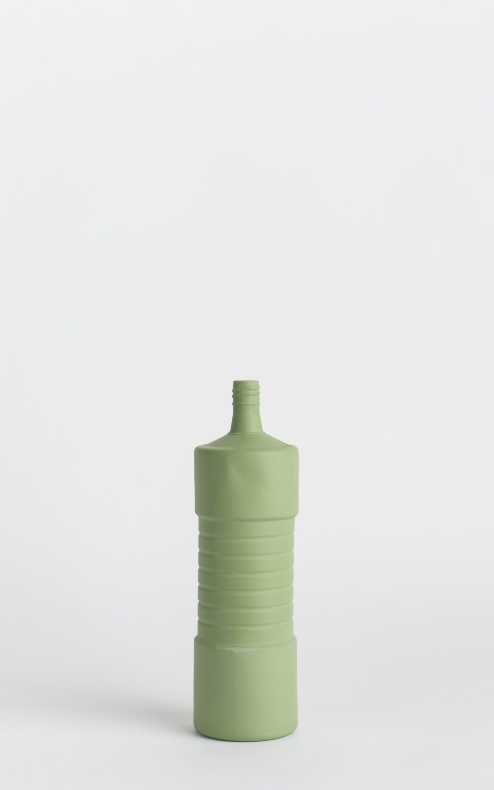 bottle vase #5 dark green with flower