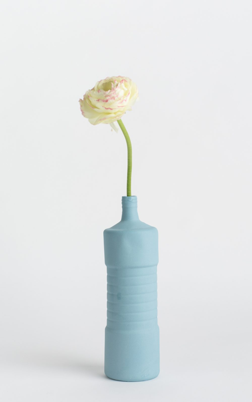 bottle vase #5 light blue with flower