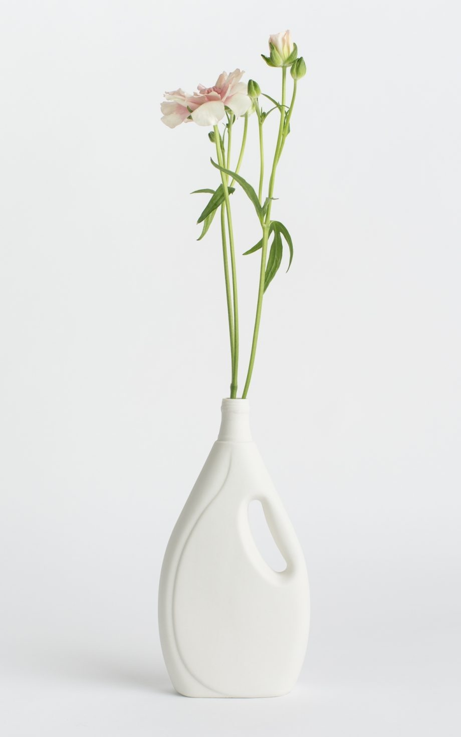 bottle vase #7 white with flower