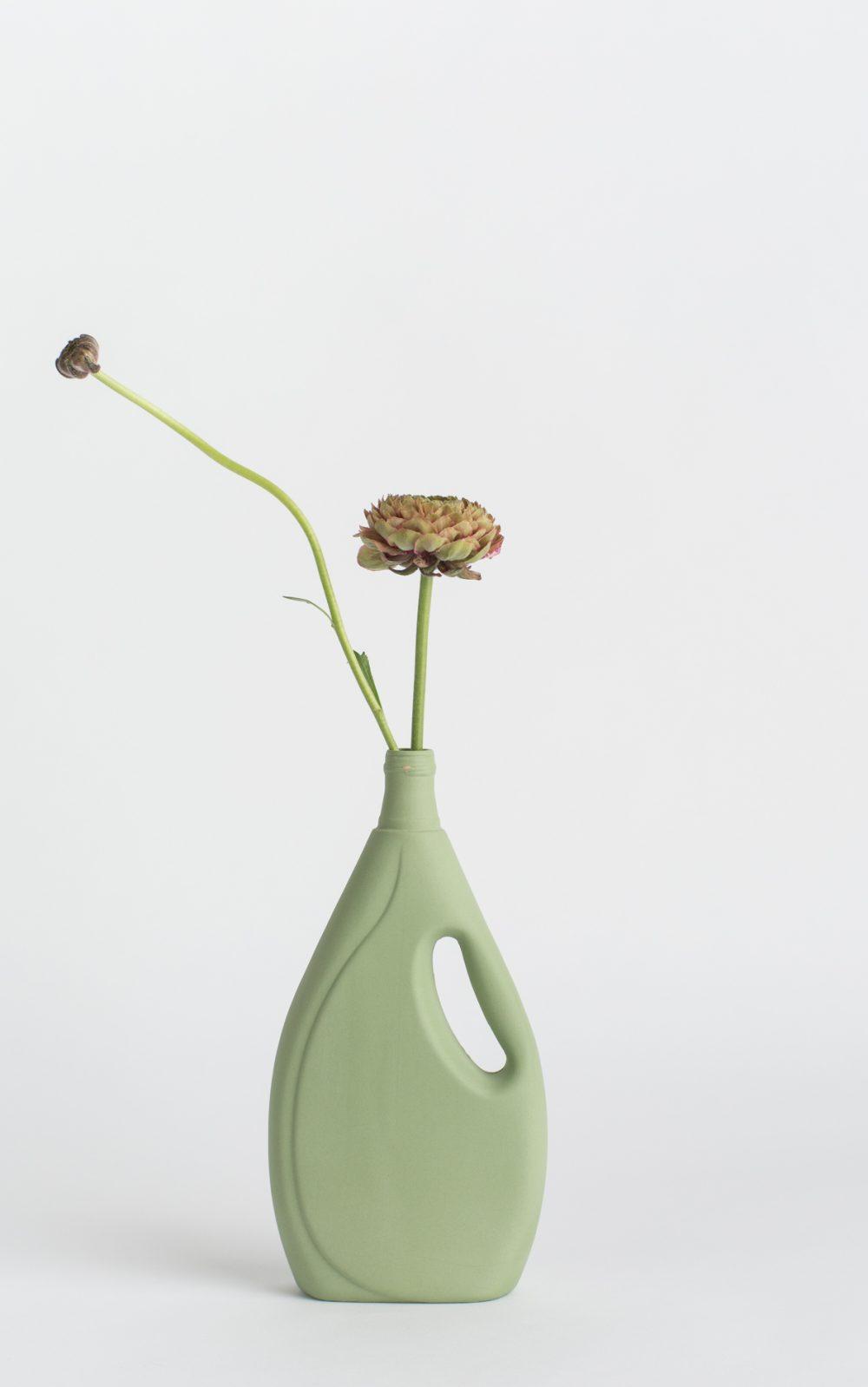 bottle vase #7 dark green army green with flower