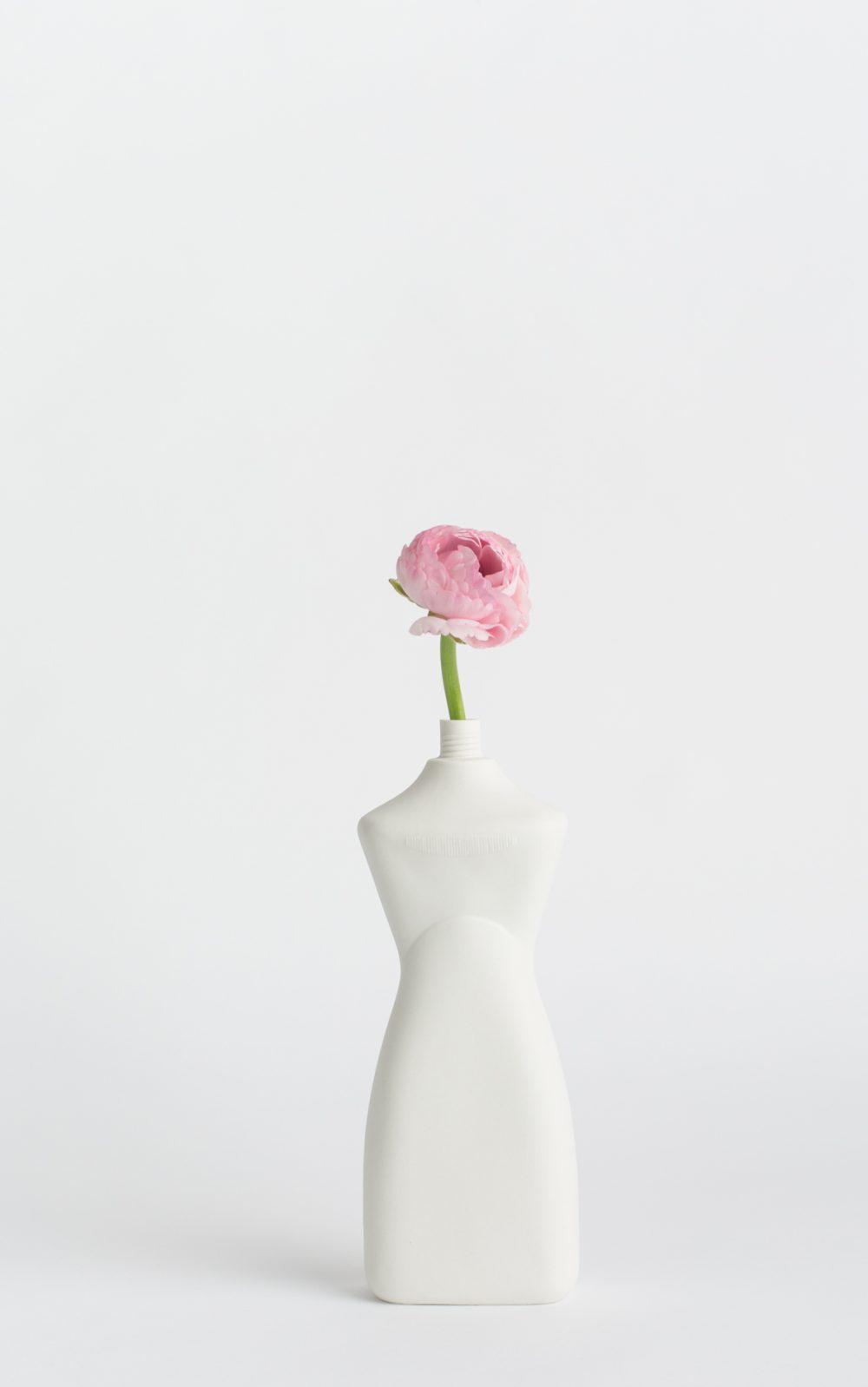 bottle vase #8 white with flower