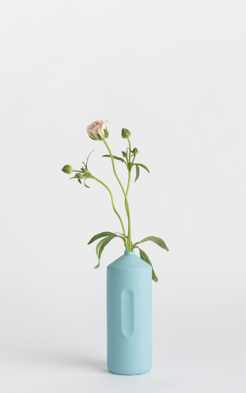 bottle vase #2 light blue with flower
