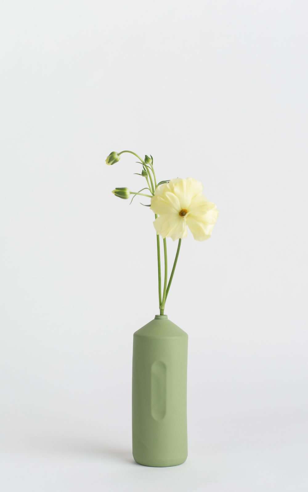 bottle vase #2 dark green with flower