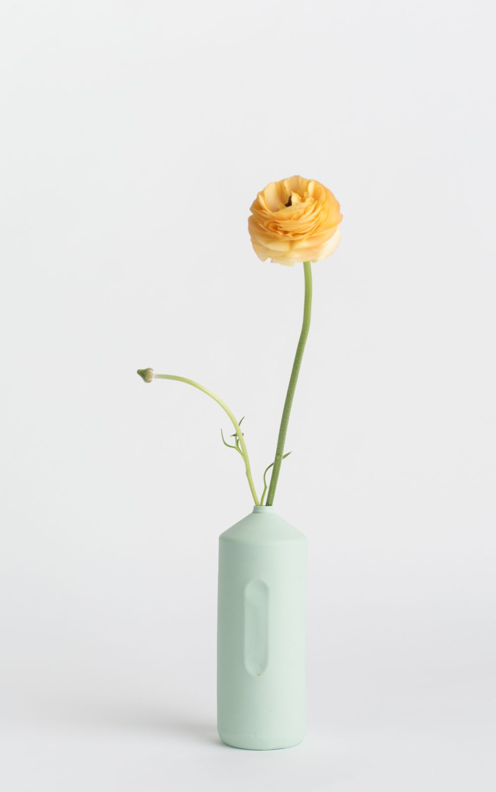 bottle vase #2 mint with yellow flower