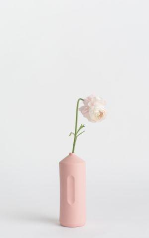 bottle vase #2 rose pink with flower