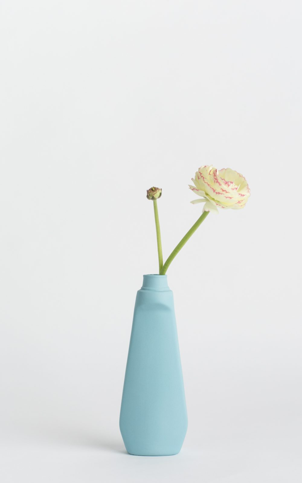 bottle vase #4 light blue with flower