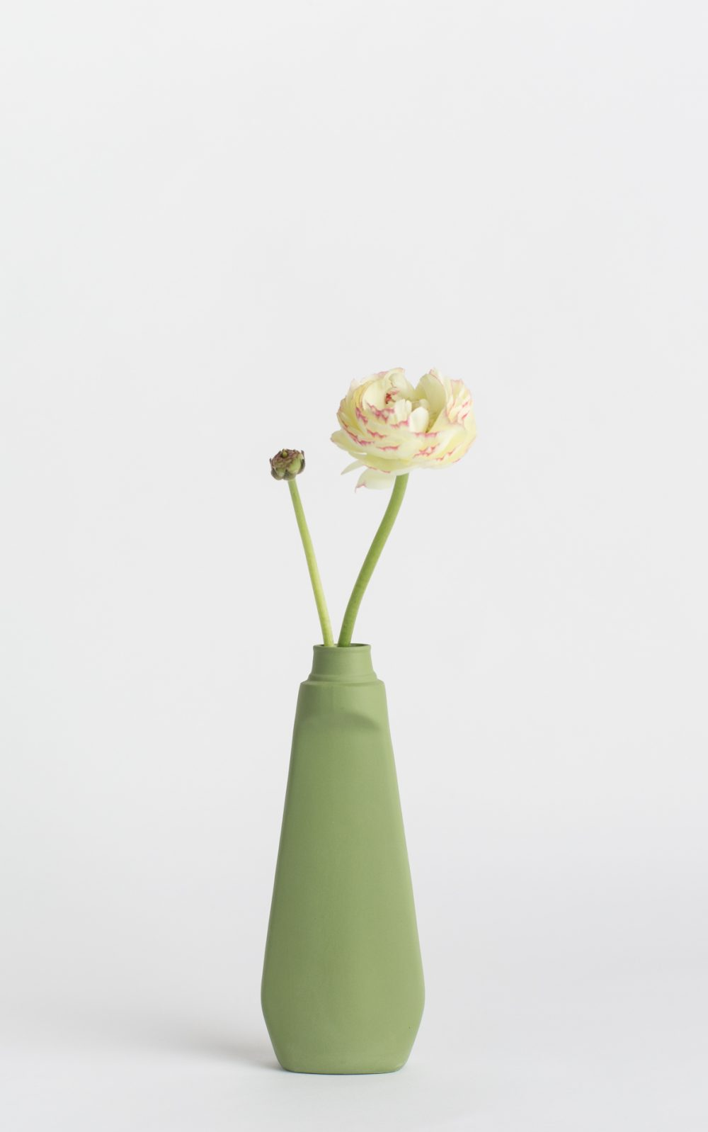 bottle vase #4 dark green with flower