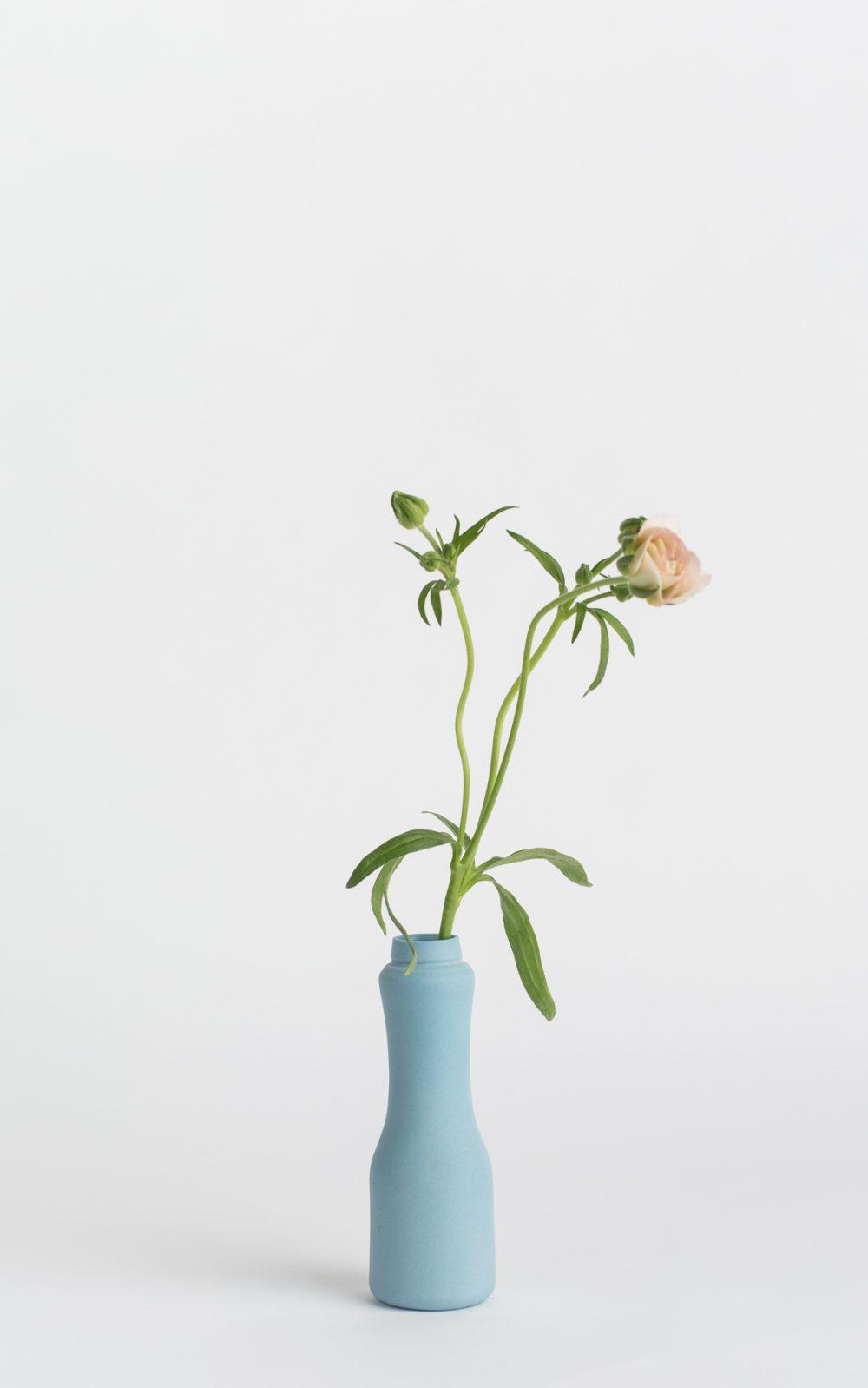 bottle vase #6 dark blue with flower