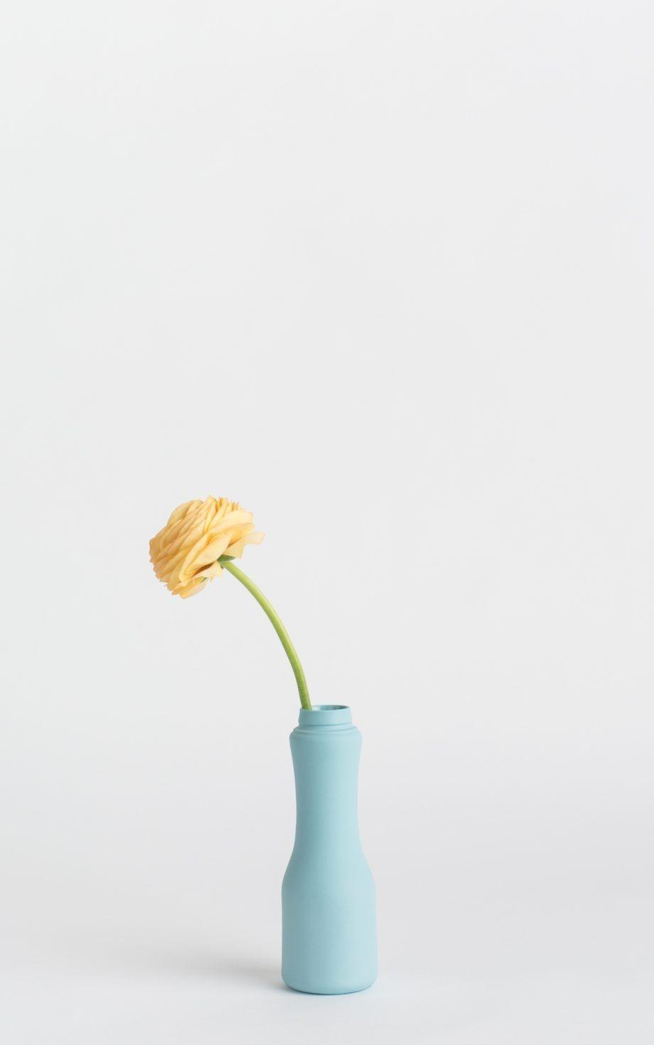 bottle vase #6 light blue with flower