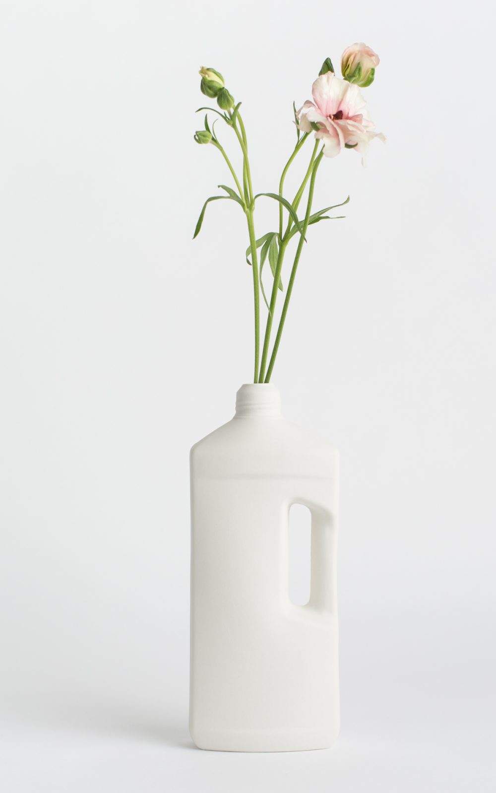 bottle vase #3 white with flower