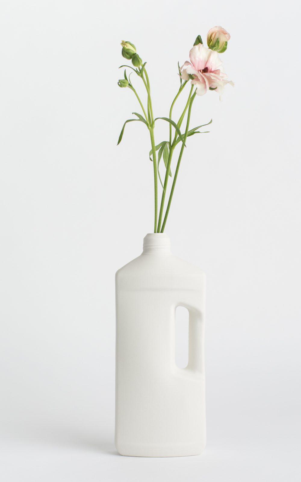 bottle vase #3 white with flower