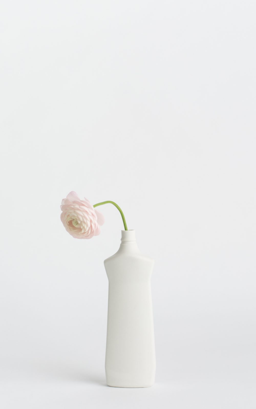 bottle vase #1 white with pink flower