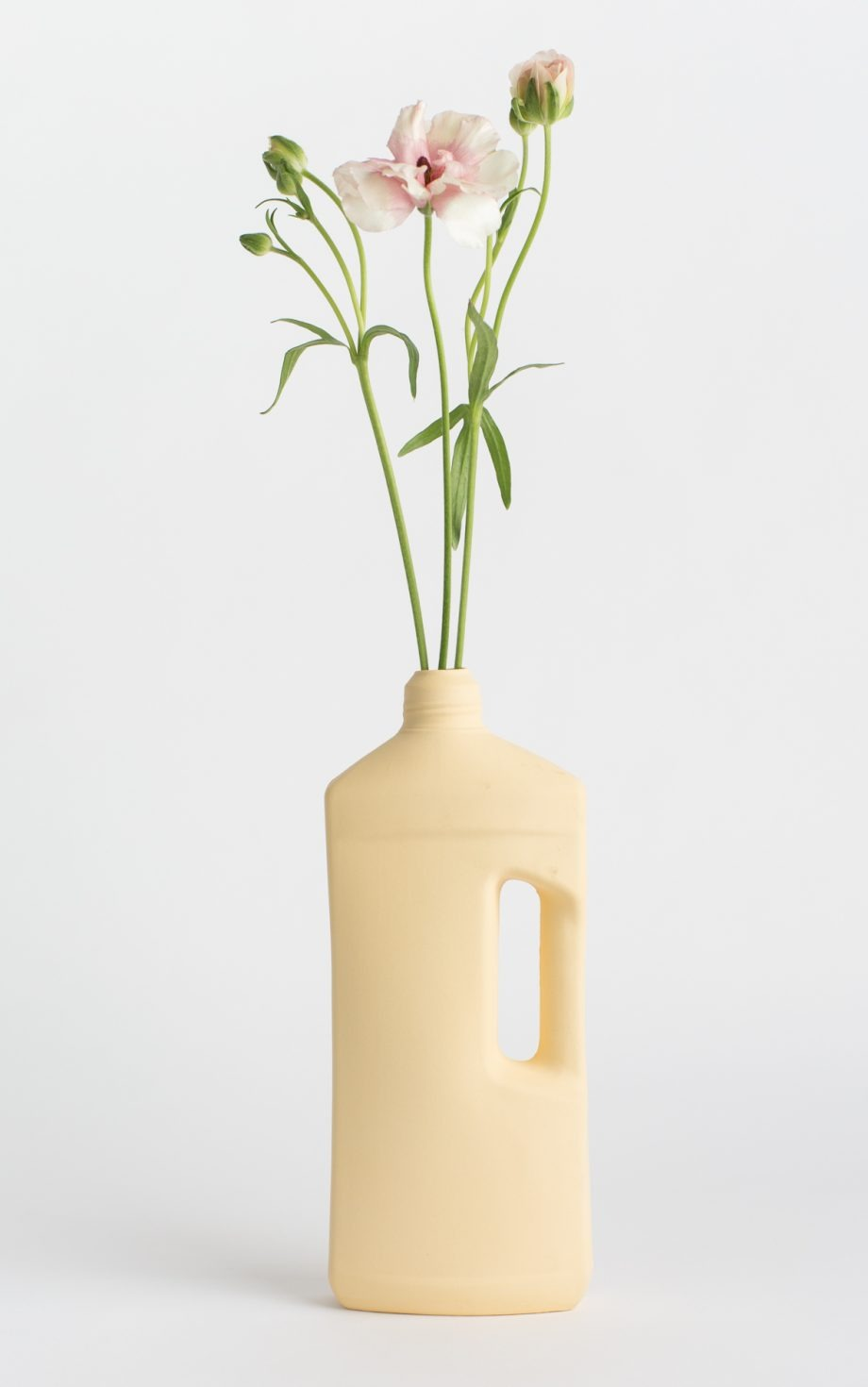 bottle vase #3 warm yellow with flower