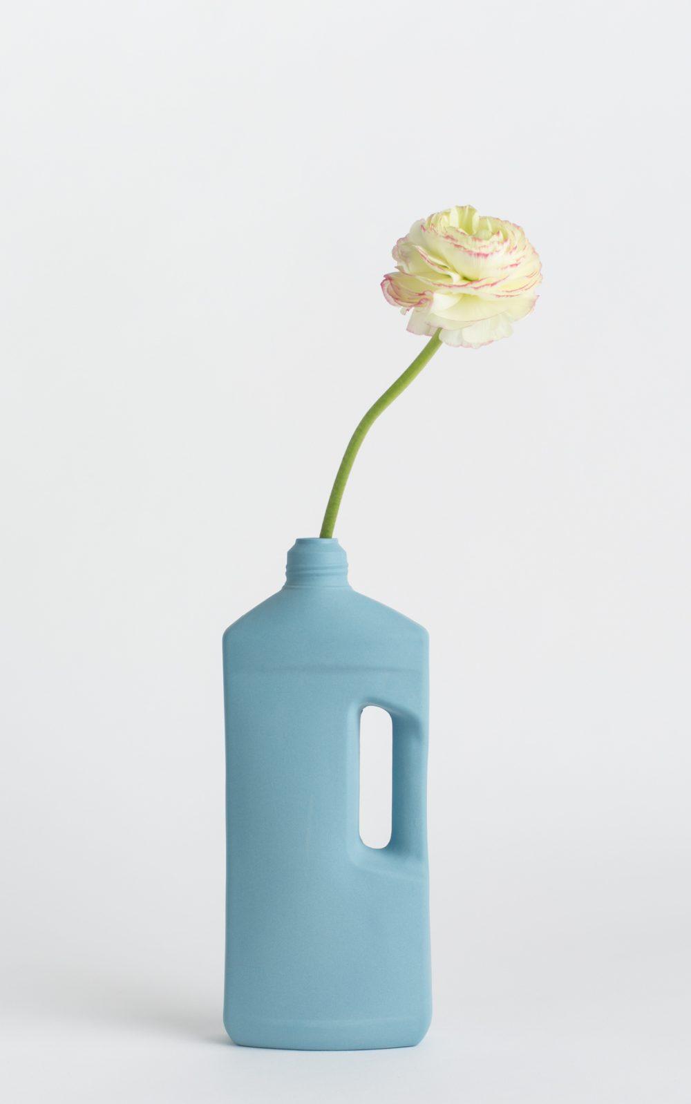 bottle vase #3 dark blue with flower
