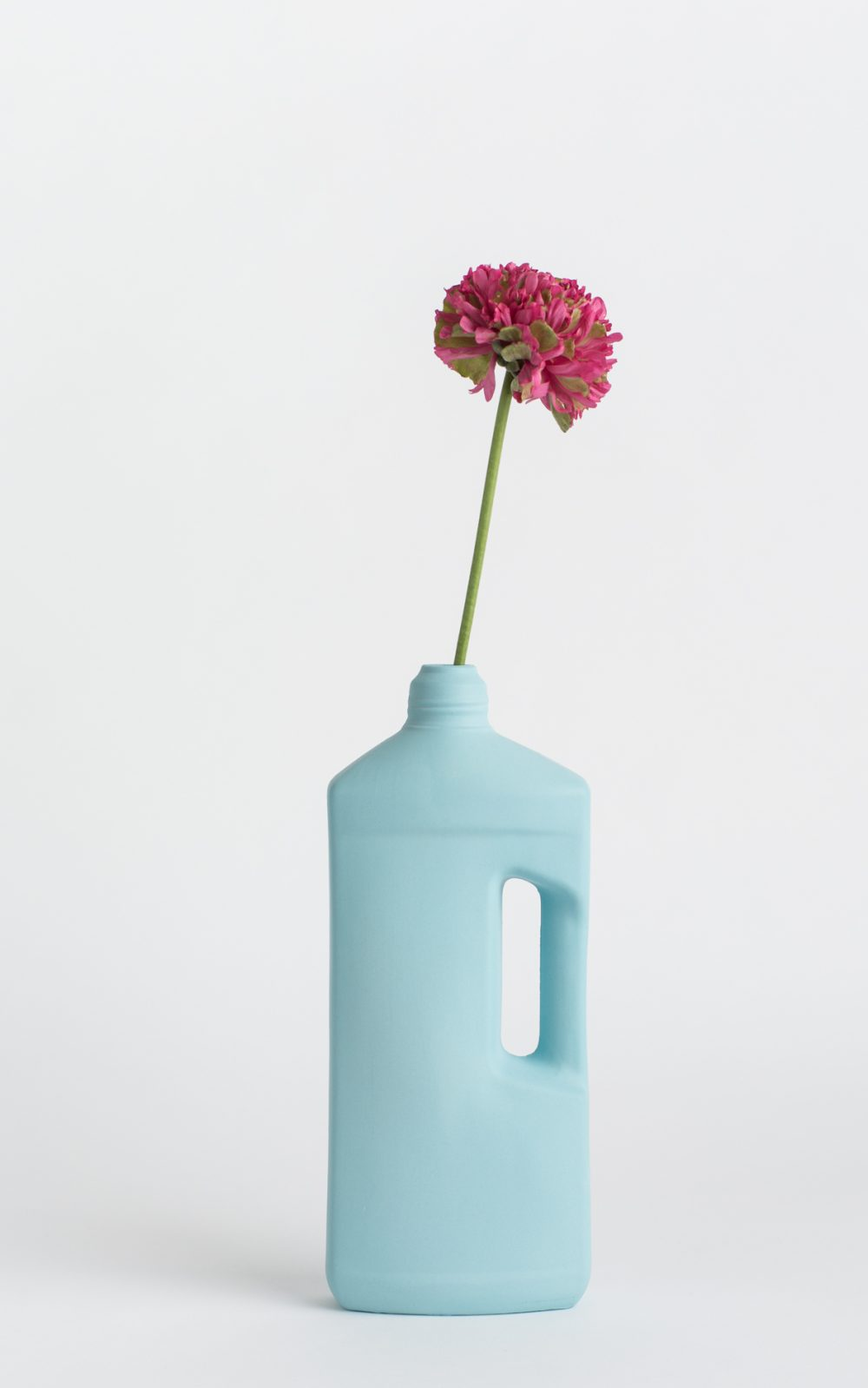 bottle vase #3 light blue with flower
