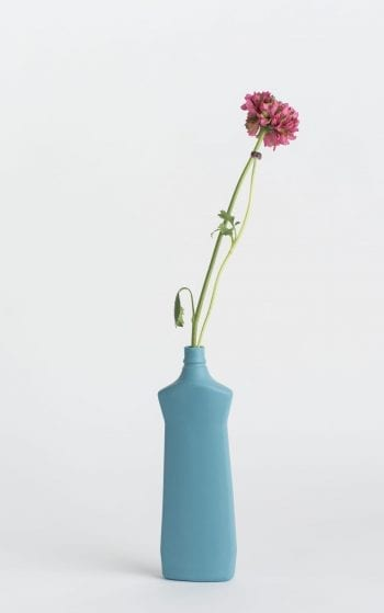 bottle vase #1 dark blue with flower