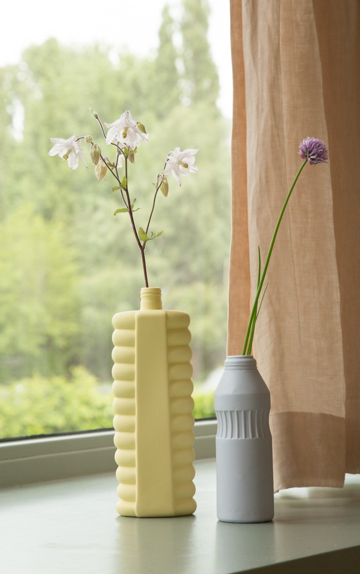 bottle vase #10 fresh yellow - #11 old purple
