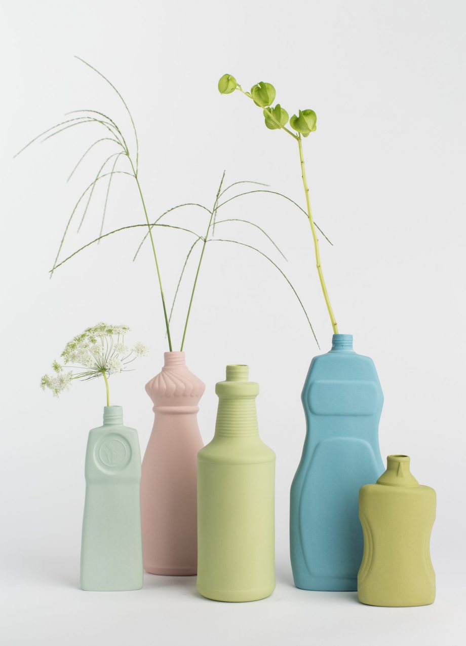 group photo five vases