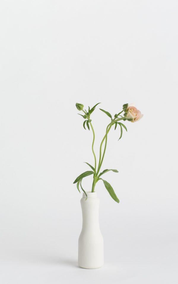 bottle vase #6 white with flower
